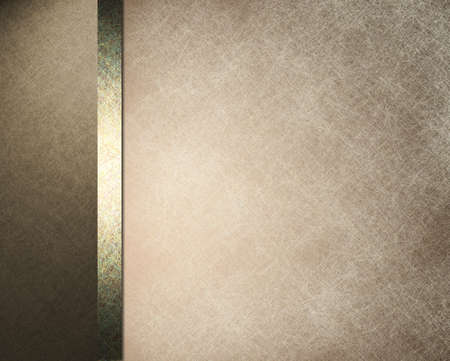 brown: brown and white parchment background paper with white overlay and formal design layout with elegant dark brown frame with gold ribbon and vintage grunge texture and copy space