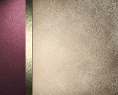 elegant: background with brown beige parchment illustration with border of pink purple color and gold ribbon Stock Photo