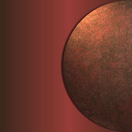 abstracte rode en bruine moderne kunst achtergrond met oranje hoogtepunt en metallic vintage grunge textuur en glad verloop kleur met cirkel of ronde elegant design lay-out met een kopie ruimte