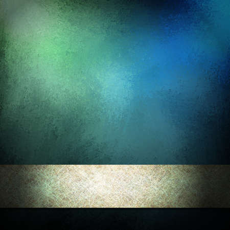beautiful blue background with mottled vintage grunge texture and light blue spotlight or highlight with silver ribbon stripe layout design and dark black vignette border on frame with copy space Stock Photo - 12623992
