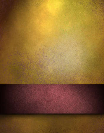 distressed: elegant gold distressed background with texture and highlight, rich red ribbon stripe in graphic art design layout for copy space to add your own text or title