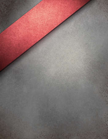 gray background with art design angled red stripe, highlight, vintage grunge texture and copy space