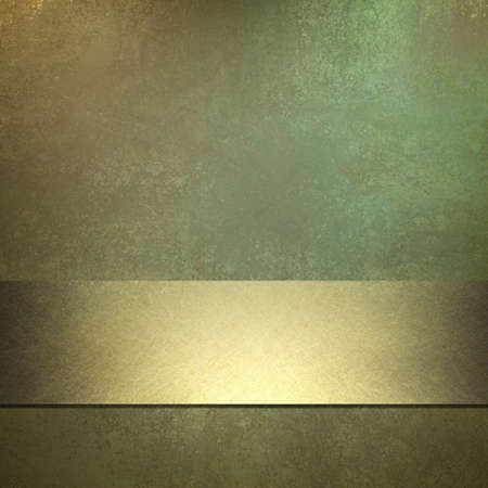 bronze texture: dark green background with old grunge texture and soft golden highlight, bright gold ribbon accent stripe, elegant design layout, and copy space  Stock Photo