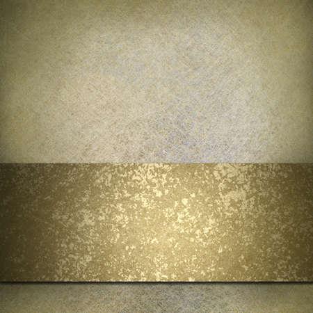 グランジ ゴールド リボンと白色の背景をオフ
