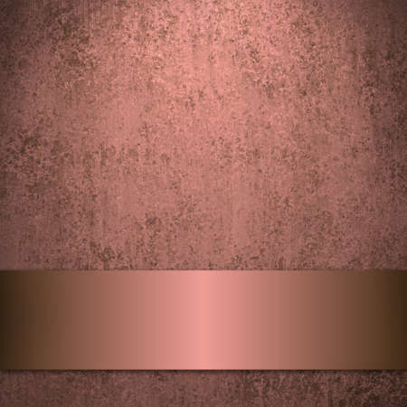pale color: pink smudged background with vintage grunge texture and metal ribbon stripe with copyspace