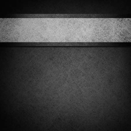 monochrome black and white background layout design illustration withgray parchment ribbon stripe and dark edges on border of paper Stock Photo