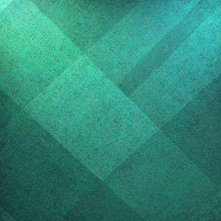 teal background: blue teal green and black background with parchment grunge texture in abstract block plaid design layout  Stock Photo