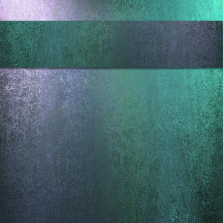 teal background: blue and green abstract background with lighting and sponge texture with dark ribbon stripe layout design and copyspace for ad or brochure text