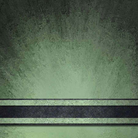 abstract black and green background with vintage grunge texture smeared on paper with black edges and bright highlight under black ribbon stripe Stock Photo - 12624109