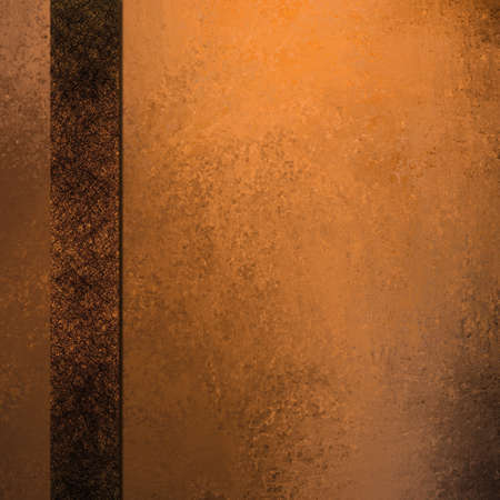brown: old faded copper orange background with abstract vintage grunge texture and soft brown spotlight with ribbon stripe frame on border layout design with copy space for text or title of ad or brochure