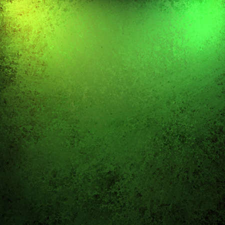 highlights: bright and dark green and black background for spring or summer with vintage grunge texture and yellow highlights in corner of top border and copy space for St  Patrick