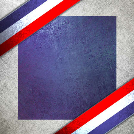 patriotic border: July 4th Background in red and blue, with grunge texture, and striped ribbon angled in corner