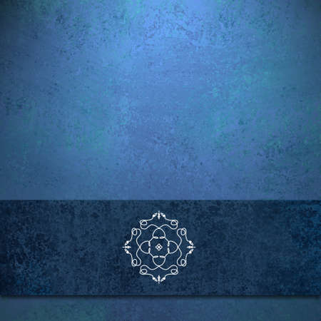 artsy: elegant sapphire blue background with dark blue colored ribbon design layout with old antique grunge texture and seal