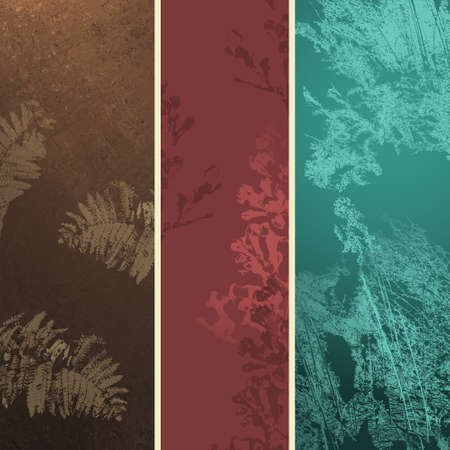 abstract grunge backgrounds in brown pink red and teal blue with grungy organic ferns and flower plants and weed grass in stripes for web templates or stationary or scrapbook design elements Stock Photo