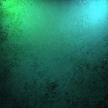 dramatic teal blue green and black color background with old vintage grunge texture and bright spotlight on frame of border for copy space for announcement or invitation design layout Stock Photo