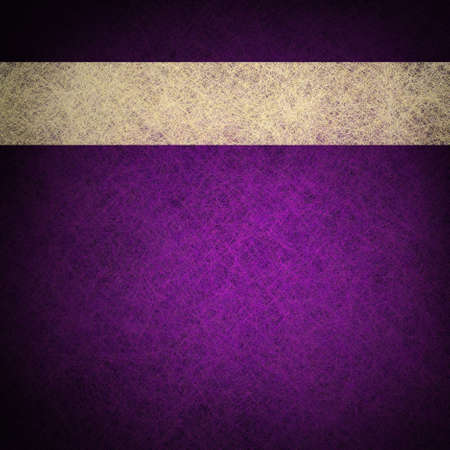 royal rich style: purple background and web template with header or purple paper on black background texture with white ribbon parchment or old  paper design Stock Photo