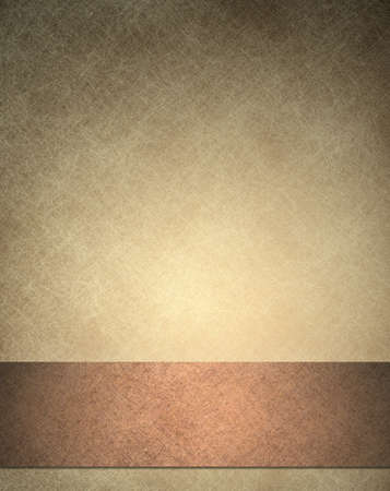 copper: brown background texture, with beige wallpaper frame and ribbon stripe of dark copper background with black edges Stock Photo