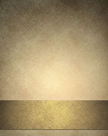 gold background or anniversary or wedding background with gold ribbon or bottom bar layout for web template design, has background texture of  white scratches on vintage wallpaper color Stock Photo - 13296589