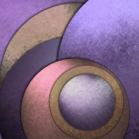 contemporary: fun abstract background in contemporary design of large and small layered circles in random pattern, modern art background is purple pink and brown with artsy textured background is colorful Stock Photo