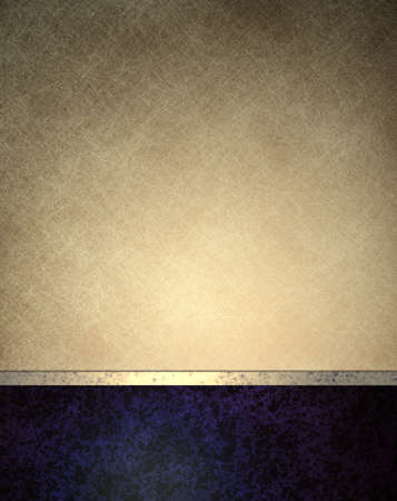 luxury template: white background of old paper on dark blue background banner with light gold ribbon  and grungy vintage background texture for website template or menu layout or ad brochure Stock Photo
