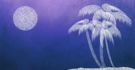 retreat: palm tree and moon light midnight abstract art background,  textured blue background with beach trees of white parchment paper design and grunge tropical background for vacation resort landscape ads