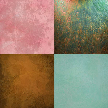 vintage grunge textured backgrounds in blue, copper, and pink, backgrounds have old distressed sponge texture and blotchy spots in abstract background tiles photo