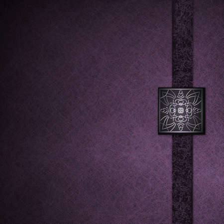 luxurious purple background with elegant embossed seal, old vintage grunge background texture, formal graphic art layout design for brochure ad, black ribbon stripe, abstract luxury background photo