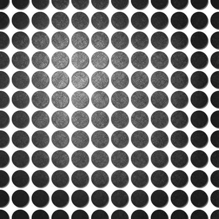 abstract white background with black polka dots, background has pattern of dots in lines with vintage grunge background texture on each spot and center highlight for fun modern background design Stock Photo - 13544300