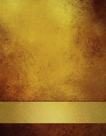 gold textured background: old antique gold background with elegant soft faded vintage grunge background texture and gold ribbon stripe, elegant Christmas background or anniversary gold background, or wedding, or web template Stock Photo