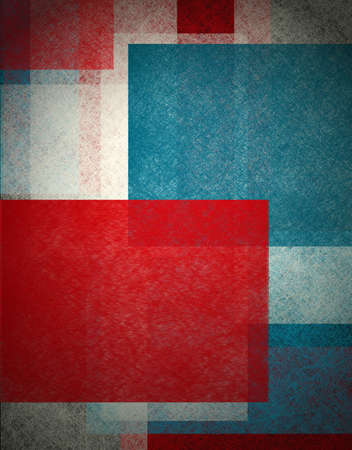 contemporary: colorful abstract background in red white and blue, patriotic background for elections  or July 4th background with white old paper vintage grunge background texture,  black edge design on frame Stock Photo
