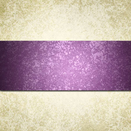 formal white background with purple ribbon or stripe and vintage grunge background texture, white paper and purple background for wedding invitation or elegant brochure template design of old paper look photo