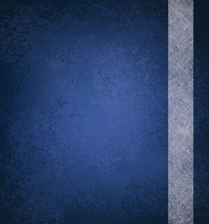 blue background with vintage grunge background texture and ribbon stripe design of white parchment paper on blue wallpaper with blank copy space and highlight for ad or brochure
