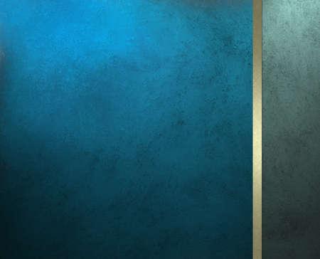 web side: elegante fondo de color azul o portada del folleto de lujo, con franja de oro de la cinta y el panel de barra lateral para la plantilla de dise�o web o de libro, tiene fondo vintage grunge dise�o textura