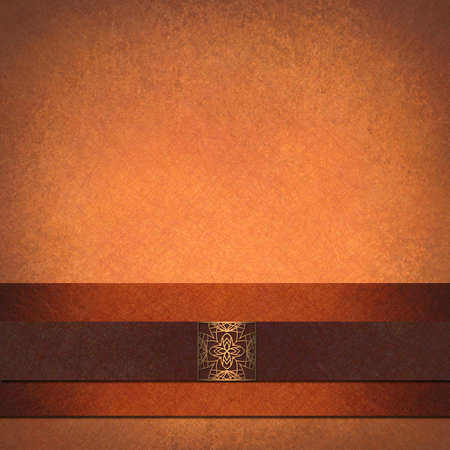 orange autumn background for thanksgiving, vintage grunge background texture, brown velvet ribbon stripe and embossed seal, abstract halloween background in peach, elegant fall background formal ad Stock Photo - 13861971