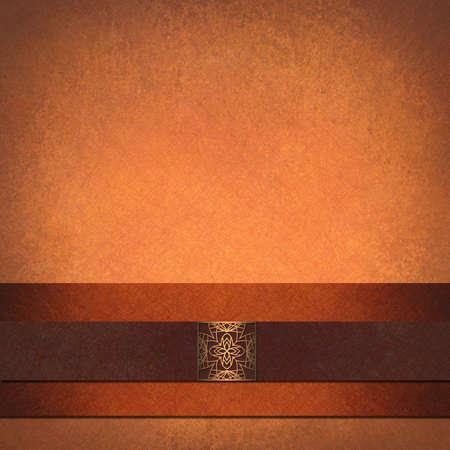 gebrannt: orange Herbst Hintergrund f�r Danksagung, Vintage Grunge-Hintergrund Textur, braun Samtband Streifen und Pr�gesiegel, abstrakte Halloween-Hintergrund in Pfirsich, elegant Herbst Hintergrund formalen ad