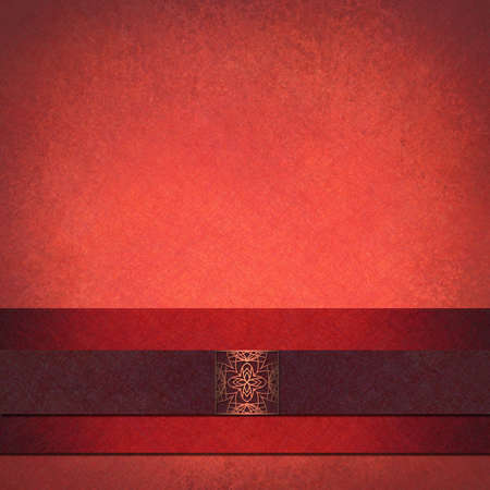 embossed paper: elegant red background in formal layout design with vintage grunge background texture and lighting with dark purple velvet ribbon stripe and embossed abstract seal, background is pink, red, purple