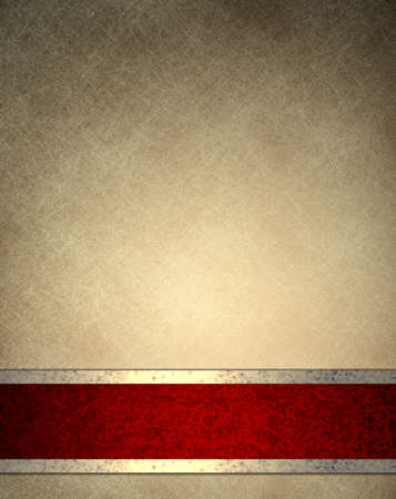 meny: brun beige bakgrund med gamla pergament konsistens bakgrund papper design eller elegant tapet ram med tjusiga röd bakgrund band rand med guld dekoration, lyx bakgrund i vintage stil Stockfoto