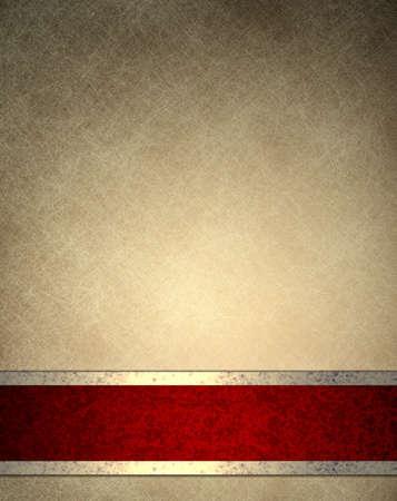 fondo elegante: marr�n amarillento de fondo con dise�o antiguo textura del papel de pergamino de fondo, fondos de escritorio o en un marco elegante, con elegante raya roja de la cinta de fondo con decoraci�n de oro, de fondo de lujo en estilo vintage