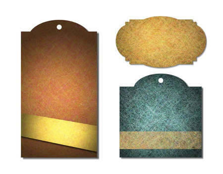 gold textures: vintage label or sales tags with parchment grunge metal textures, in brown, gold, blue, yellow   orange colors, blank price tag or warranty satisfaction guarantee icon, isolated on white background