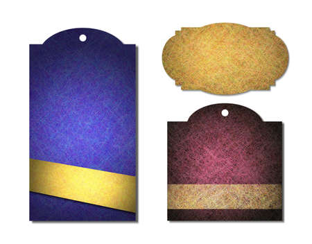 vintage label or sales tags with parchment grunge metal textures, in purple, gold, blue, yellow   pink colors, blank price tag or warranty satisfaction guarantee icon, isolated on white background