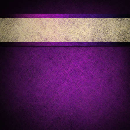 abstract purple background layout design illustration with parchment ribbon stripe and dark black vignette edges on border of paper with vintage grunge background texture design Stock Illustration - 13949257