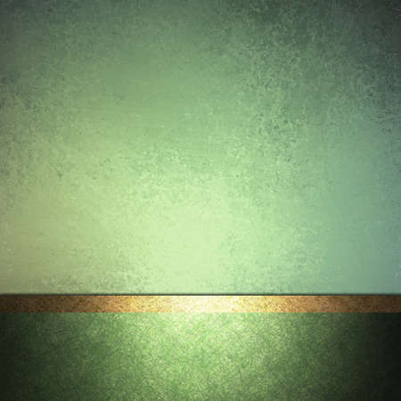 abstract green background design layout with vintage grunge background texture lighting, pale pastel colors on dark green border frame and accent ribbon in gold, elegant formal background book cover Stock Photo