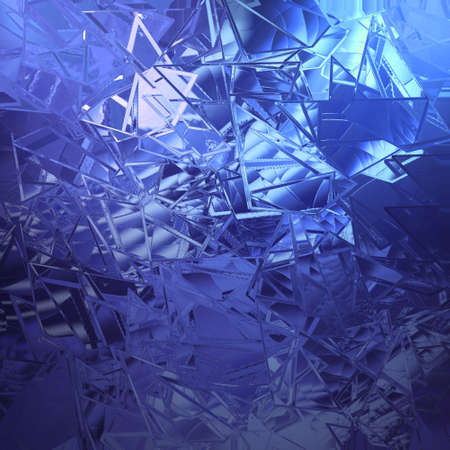 art piece: abstract blue background shattered glass with white beautiful background light texture has sharp jagged pieces of broken glass illustration for web app background design cover or classy ad brochure