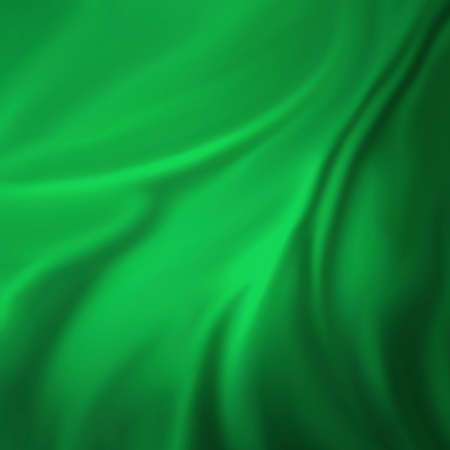 green background: green background abstract cloth or liquid wave illustration of wavy folds of silk texture satin or velvet material or green luxurious Christmas background wallpaper design of elegant green material Stock Photo