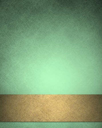 luxurious background: abstract green background gold ribbon with vintage grunge background texture of pale green with black edges for Christmas or holiday background or brochure sign or web template