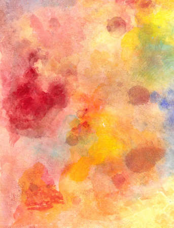 abstract watercolor background paper design of bright color splashes in yellow red warm color and blue orange gold, modern art painted canvas of old faded vintage grunge background texture atmosphere  Stock Photo