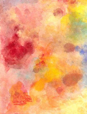 papel artesanal: fondo abstracto dise�o de papel de acuarela de salpicaduras de colores brillantes en color amarillo oro, rojo c�lido y naranja azul, el arte moderno lienzos pintados para la atm�sfera de la vieja se desvaneci�, cosecha, textura de fondo grunge