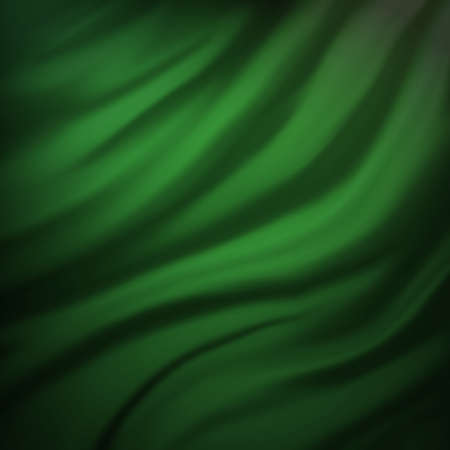 green Christmas background or abstract illustration of wavy flowing green and black folds and dark creases in the smooth satin looking material design with curves texture, ad web background template illustration