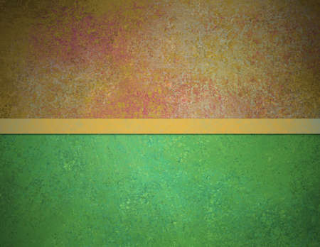 solid background: abstract green background red gold top banner bar with vintage grunge background texture and elegant gold ribbon stripe over design layout