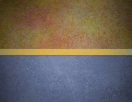 abstract blue background red gold top banner bar with vintage grunge background texture and elegant gold ribbon stripe over design layout, book cover or web template background  photo